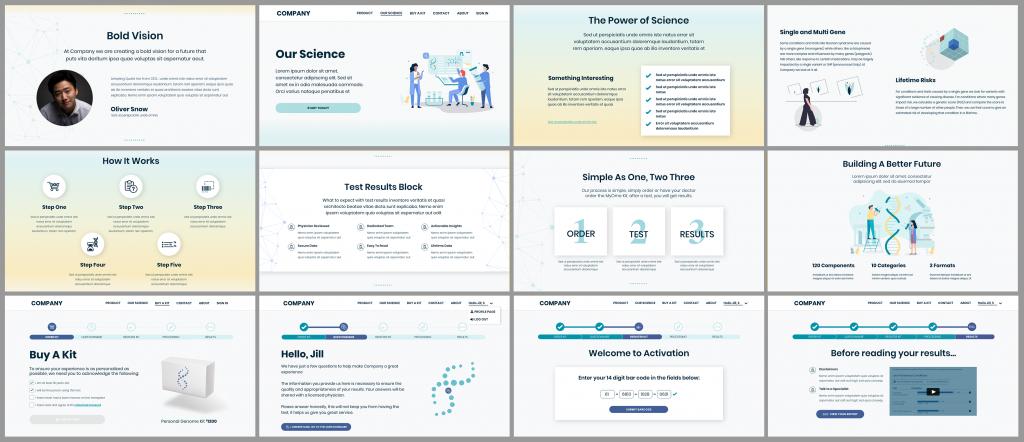 12 Image grid of StartUp DNA website design