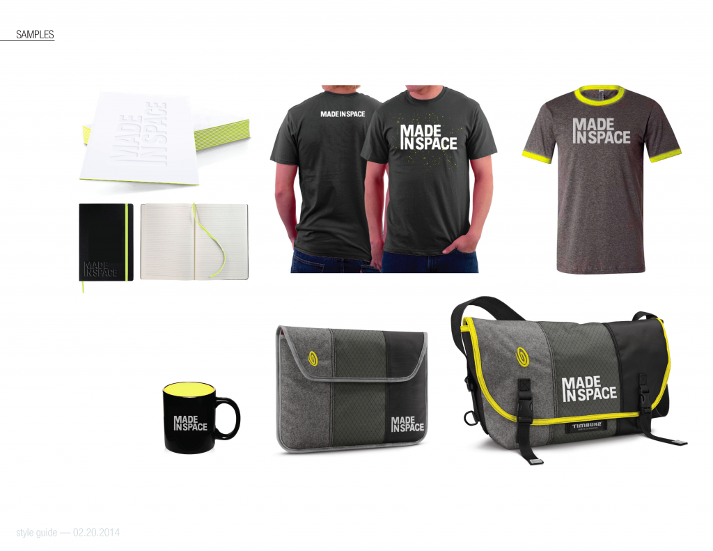 Made In Space Branding on shirts, bags, mugs and more