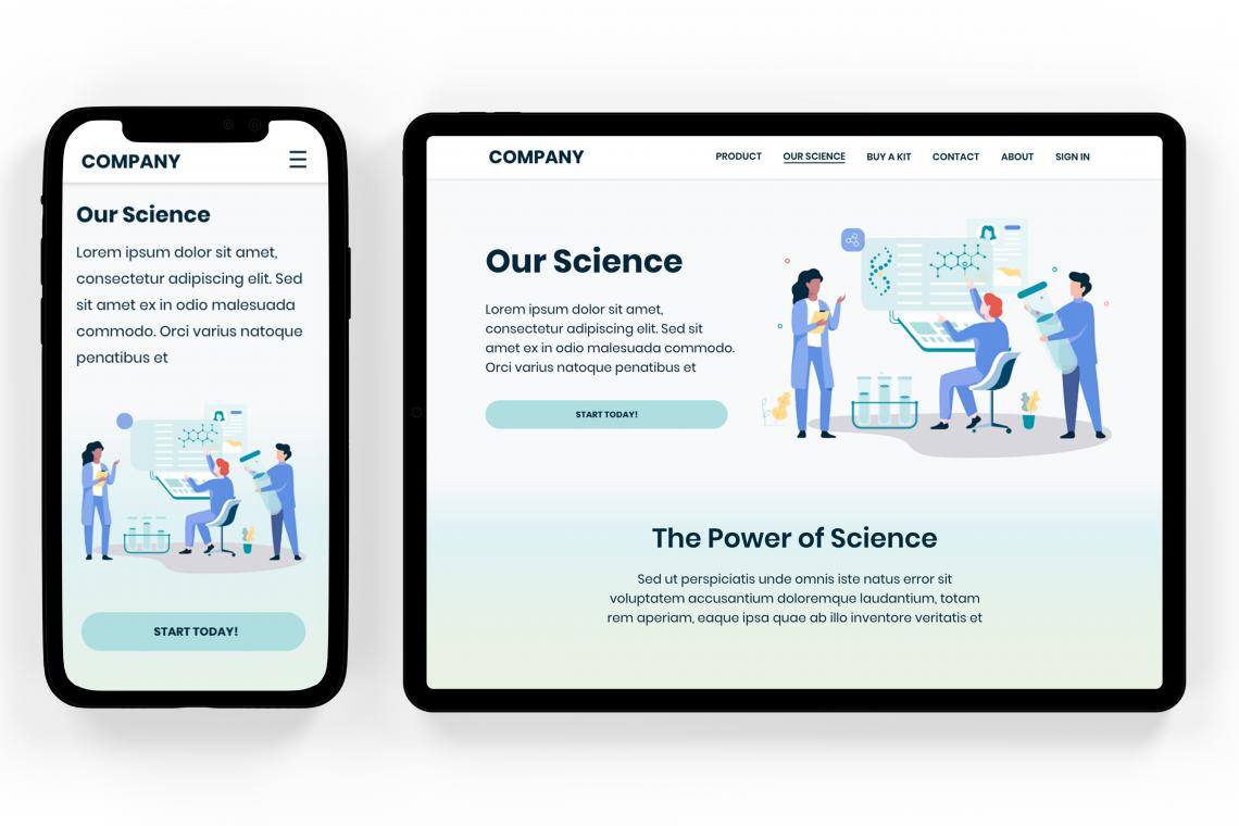 Grid Image of DNA Startup Website Design