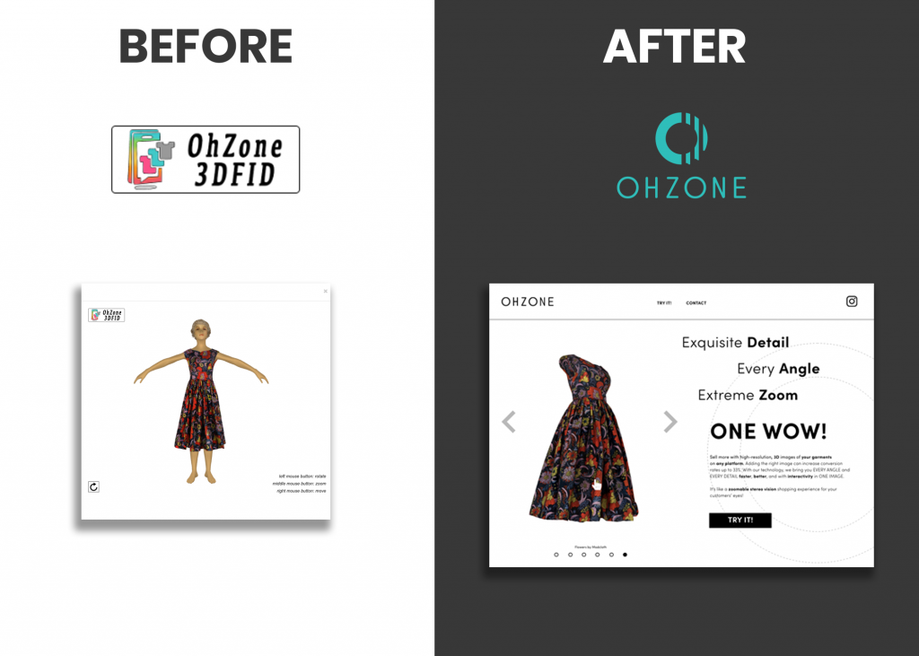 Shows the old logo and website approach on the left which is clunky and the new ohzone logo and website on the right which is clean, readable, and stylish