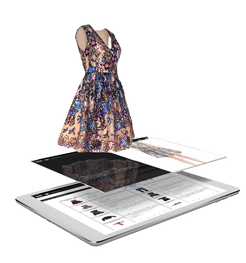 Ohzone Sparkle dress in 3D hovering over the iPAD to show depth and the WOW factor that comes with using 3DREAL technology.