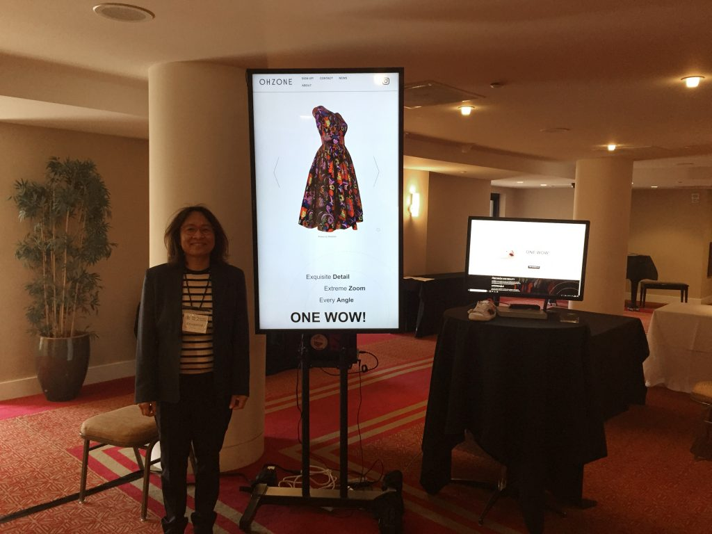 Oh Tempongkol at Fashion Technology Event in San Francisco showing off OHZONE